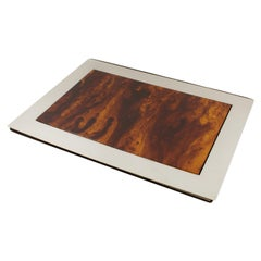 French Modernist Chrome and Tortoise Lucite Desk Pad