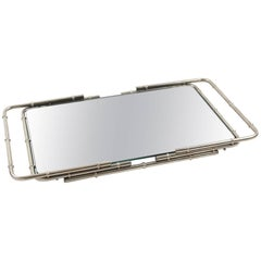 French Modernist Chrome Serving Bar Cocktail Mirror Tray Bamboo Design
