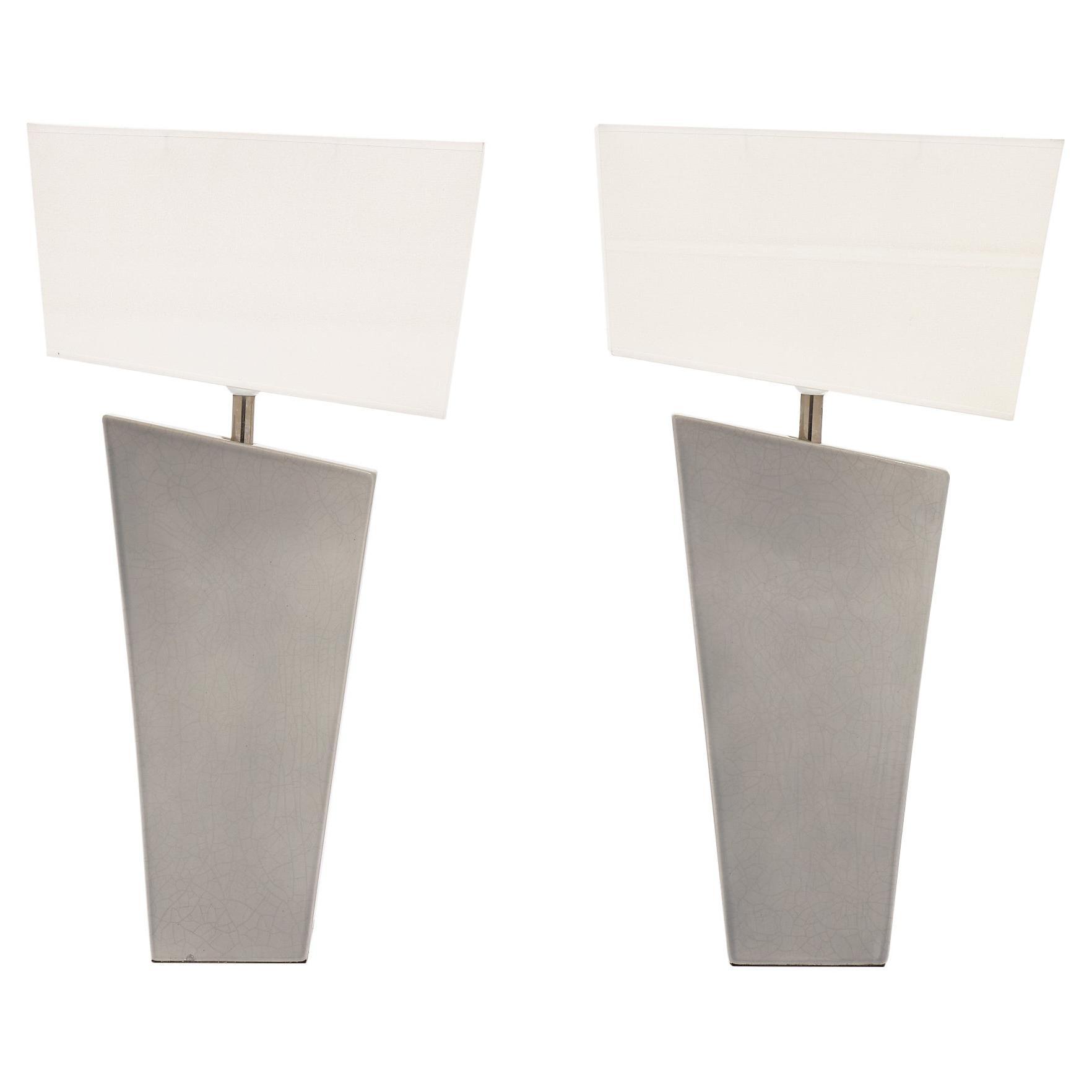 "French Modernist ""Drimmer"" Ceramic Lamps"
