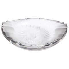 French Modernist Frosted & Translucent Crystal Decorative Bowl by Lalique