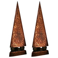 French Modernist Hand-Hammered Copper Obelisks, Pair