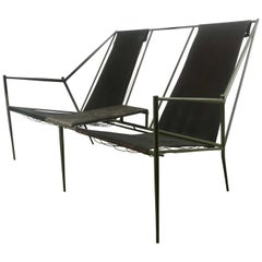 French Modernist Iron / Leather Two-Seat Sling Seating, After Jacques Adnet