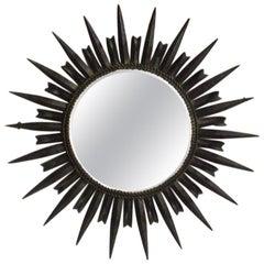 French Modernist Metal Sunburst Mirror