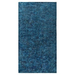 French Modernist Midcentury Blue Handwoven Wool Rug