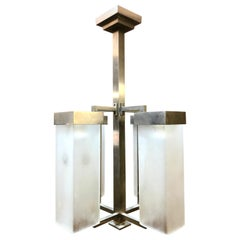 French Modernist Nickel Bronze and Frosted Glass Chandelier