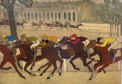 Very Large Mid 20th Century French Oil Horse Racing at Chantilly Humerous Style