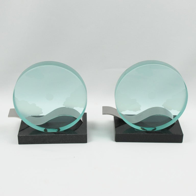 French Modernist Pair of Bookends Black Granite and Glass Slab with Etching In Excellent Condition For Sale In Atlanta, GA