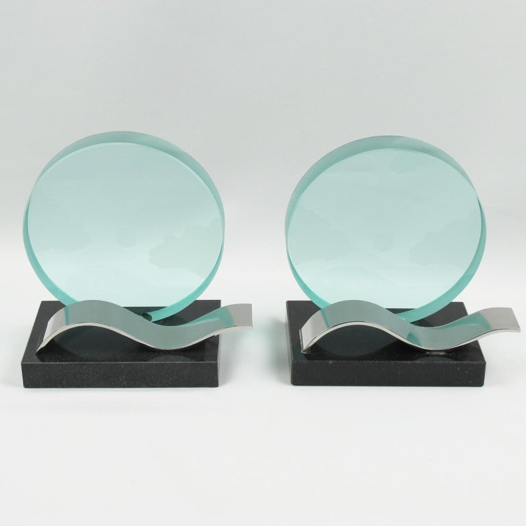 20th Century French Modernist Pair of Bookends Black Granite and Glass Slab with Etching For Sale