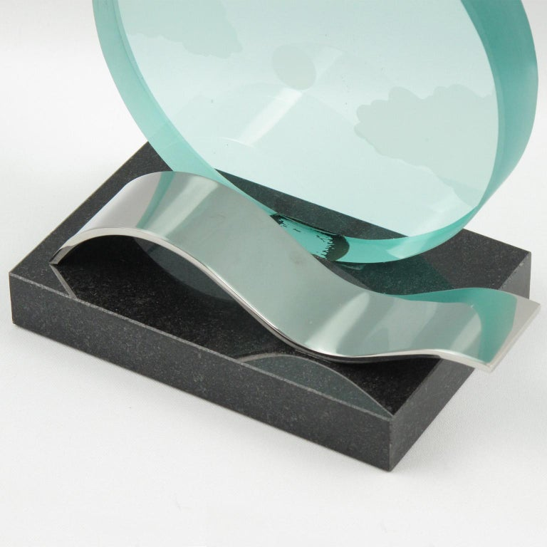 French Modernist Pair of Bookends Black Granite and Glass Slab with Etching For Sale 2
