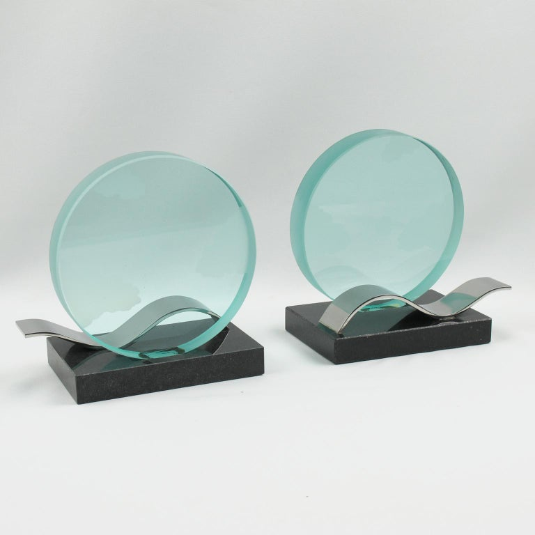 French Modernist Pair of Bookends Black Granite and Glass Slab with Etching For Sale 3