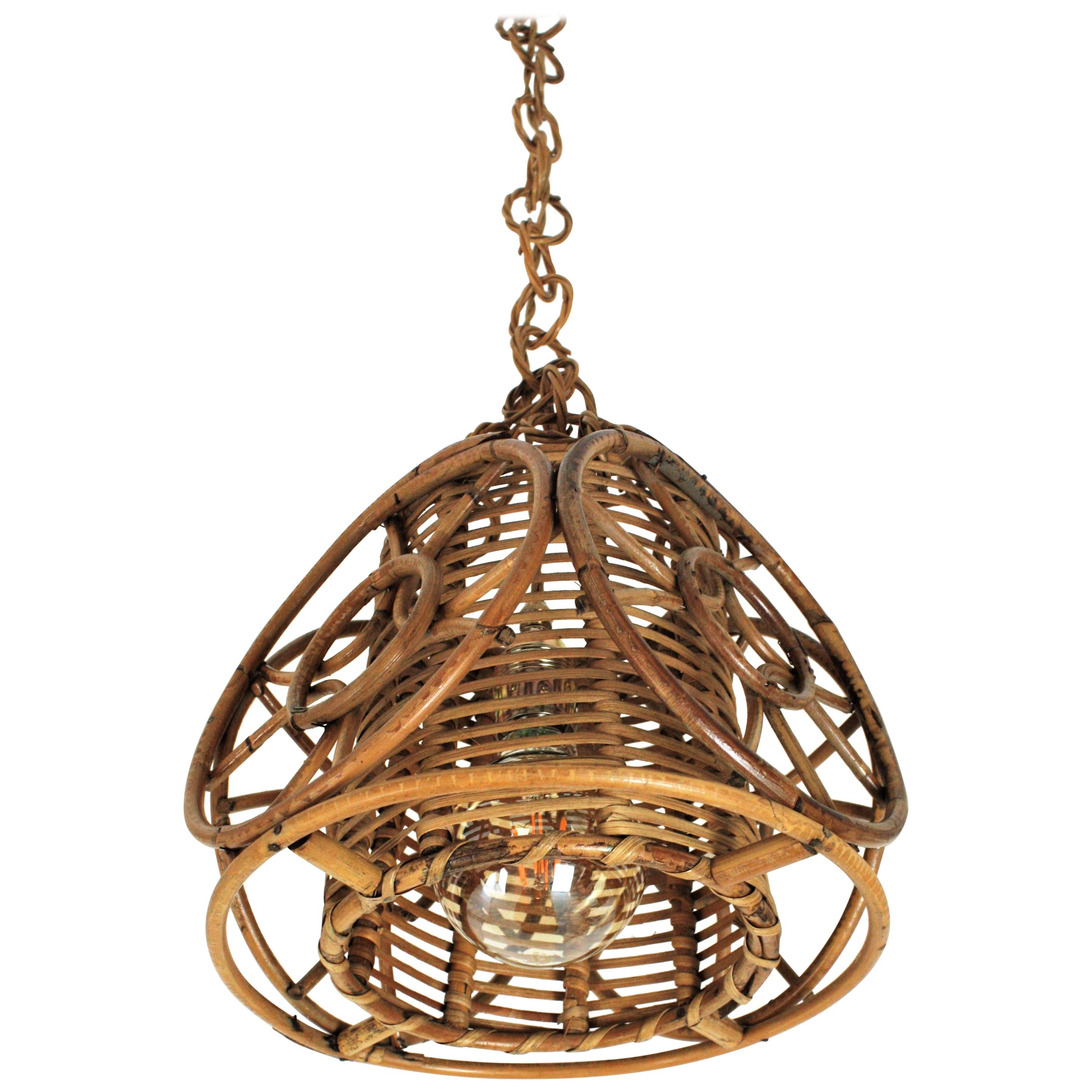 French Modernist Rattan and Wicker Pendant Hanging Lamp with Circle Decorations