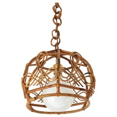 French Modernist Rattan Bell Pendant Lamp Hanging Light with Chinoiserie Accents