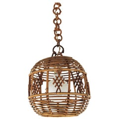 French Modernist Rattan Globe Pendant / Hanging Light with Chinoiserie Accents