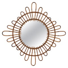 French Modernist Rattan Sunburst Mirror with Rhombus Shape