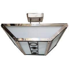 French Modernist Rectangular Glass and Nickel Chandelier