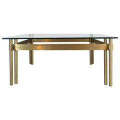 French Modernist Solid Brass and Glass Coffee Table, 1970s