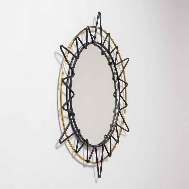 French Modernist Sunburst Mirror, 1950s In Good Condition For Sale In Vienna, AT