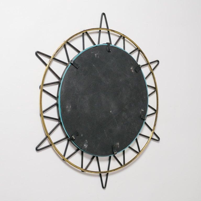 Mid-20th Century French Modernist Sunburst Mirror, 1950s For Sale