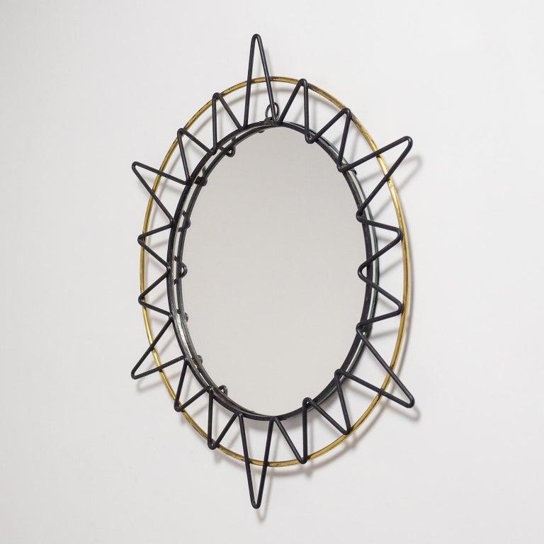 Steel French Modernist Sunburst Mirror, 1950s For Sale