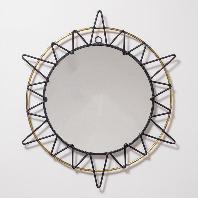 French Modernist Sunburst Mirror, 1950s For Sale 2