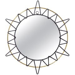 French Modernist Sunburst Mirror, 1950s