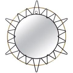 French Modernist Sunburst Mirror, 1950s