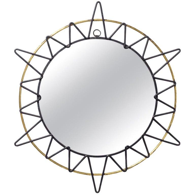 French Modernist Sunburst Mirror, 1950s For Sale