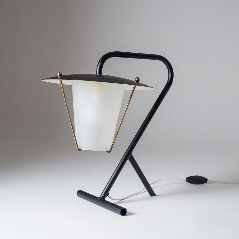 Lacquered French Modernist Table Lamp, circa 1950 For Sale
