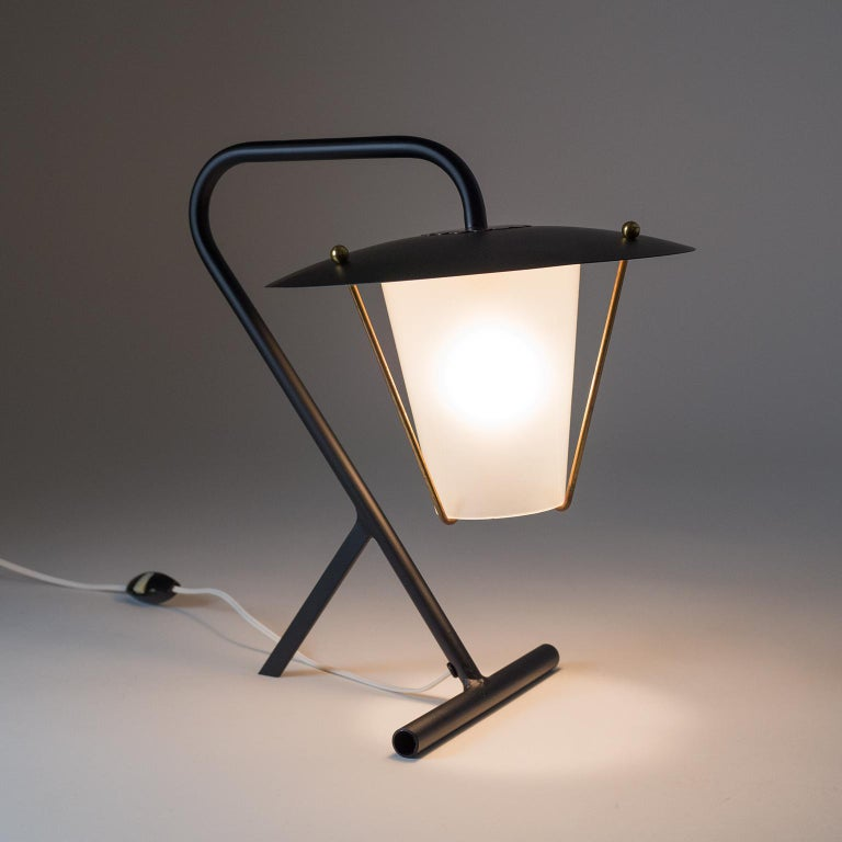Steel French Modernist Table Lamp, circa 1950 For Sale