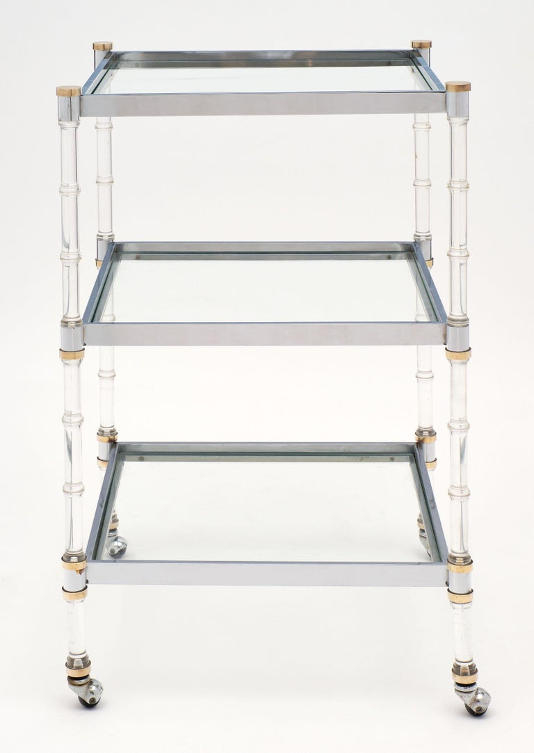 French Modernist Three-Tiered Bar Cart In Good Condition For Sale In Austin, TX