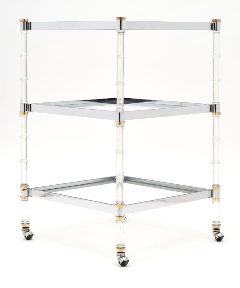 Mid-20th Century French Modernist Three-Tiered Bar Cart For Sale