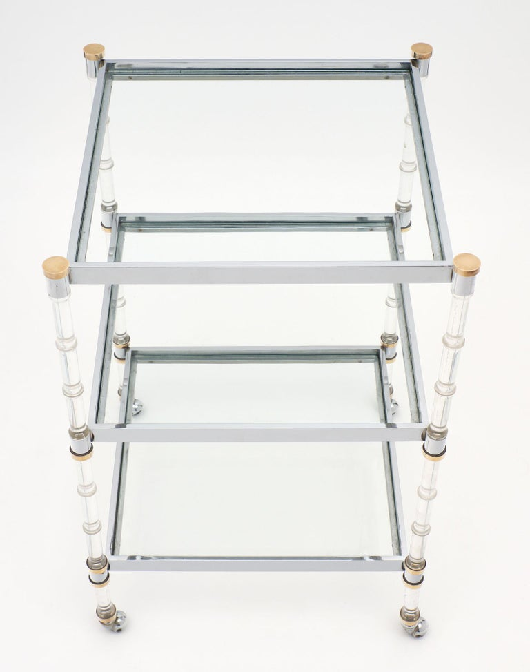 Brass French Modernist Three-Tiered Bar Cart For Sale