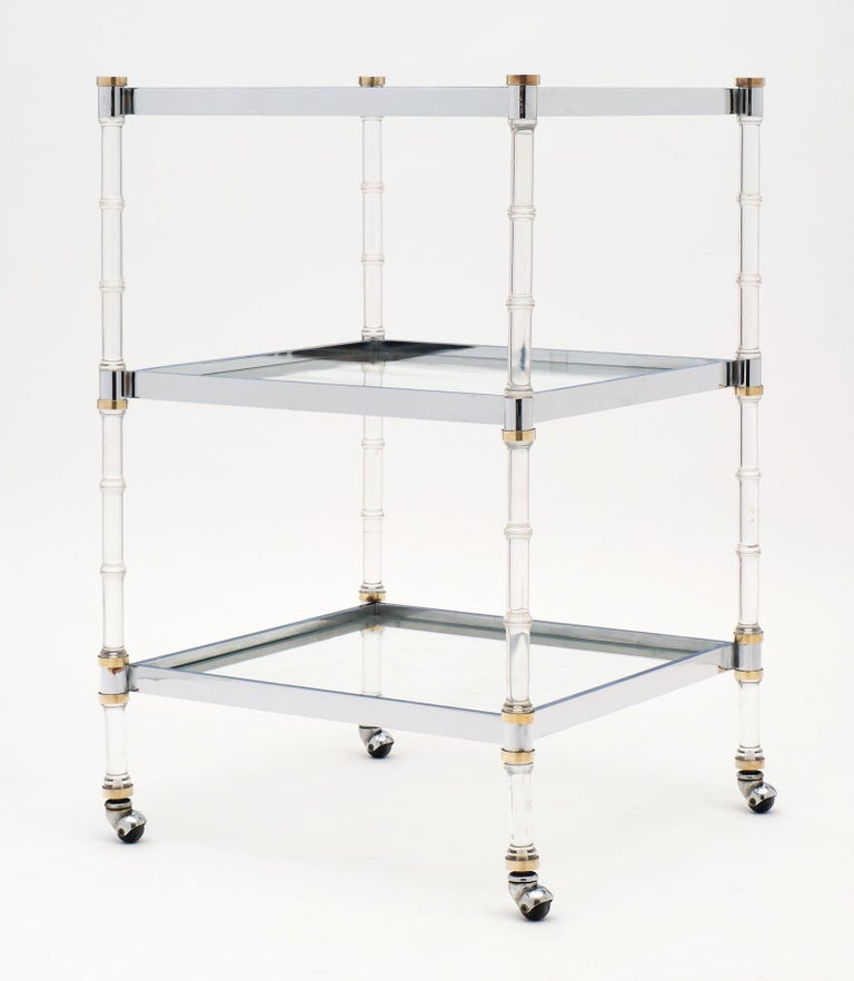 French Modernist Three-Tiered Bar Cart For Sale 2