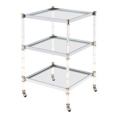 French Modernist Three-Tiered Bar Cart