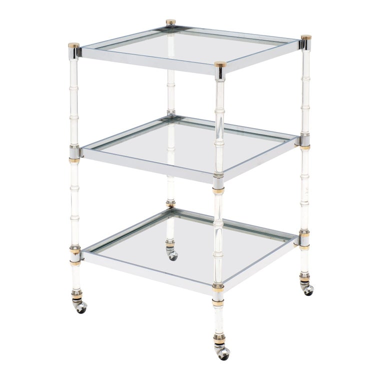 French Modernist Three-Tiered Bar Cart For Sale