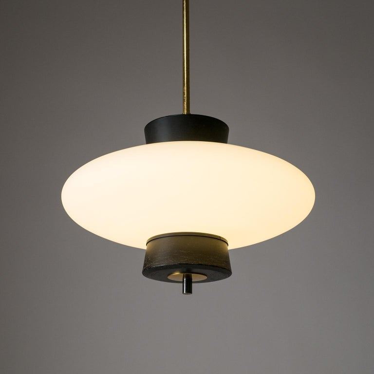 Frosted French Modernist 'UFO' Pendant, 1950s For Sale