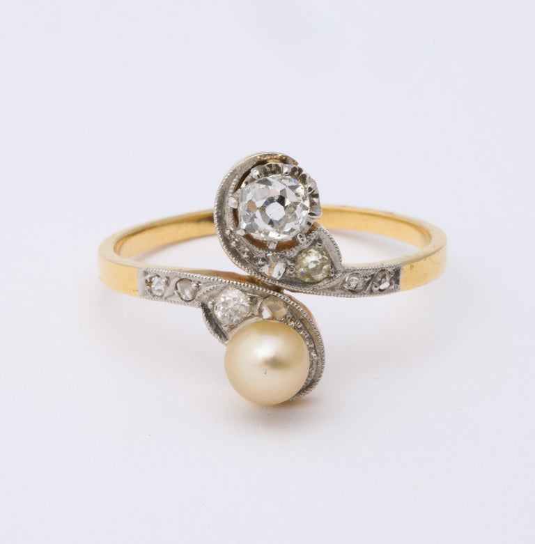 Romantic French Moi et Toi Natural Pearl and Diamond Ring For Sale