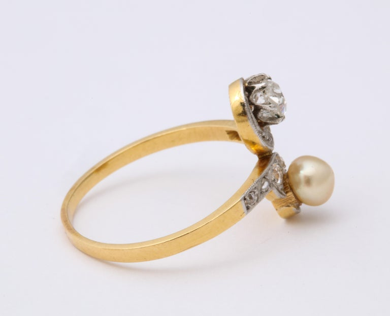 French Moi et Toi Natural Pearl and Diamond Ring For Sale 1