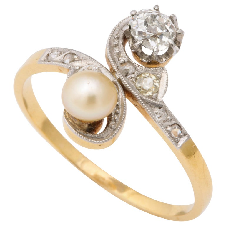 French Moi et Toi Natural Pearl and Diamond Ring For Sale