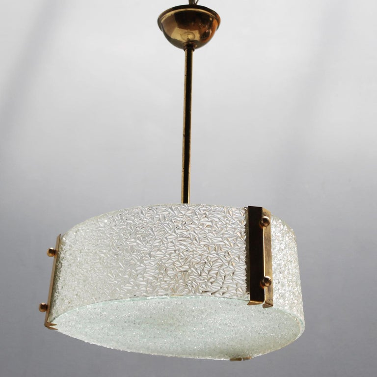 Mid-Century Modern French Molded Glass Pendant For Sale