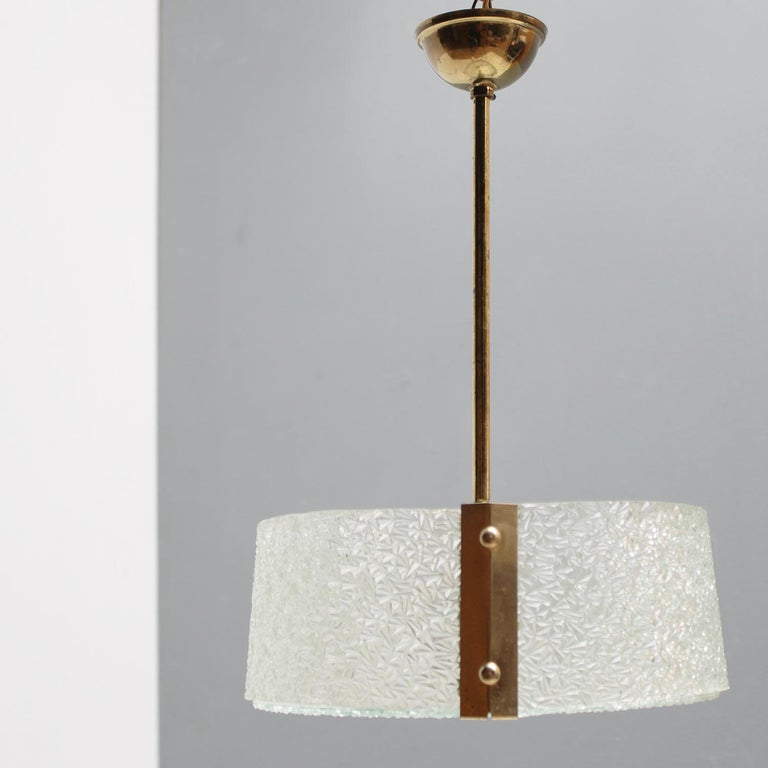 Brass French Molded Glass Pendant For Sale