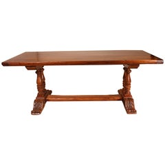 French Monastery Table Louis XIII Style in Walnut and Oak