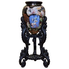 French Monumental Japonisme Ceramic Jar on a Wood Stand, circa 1890