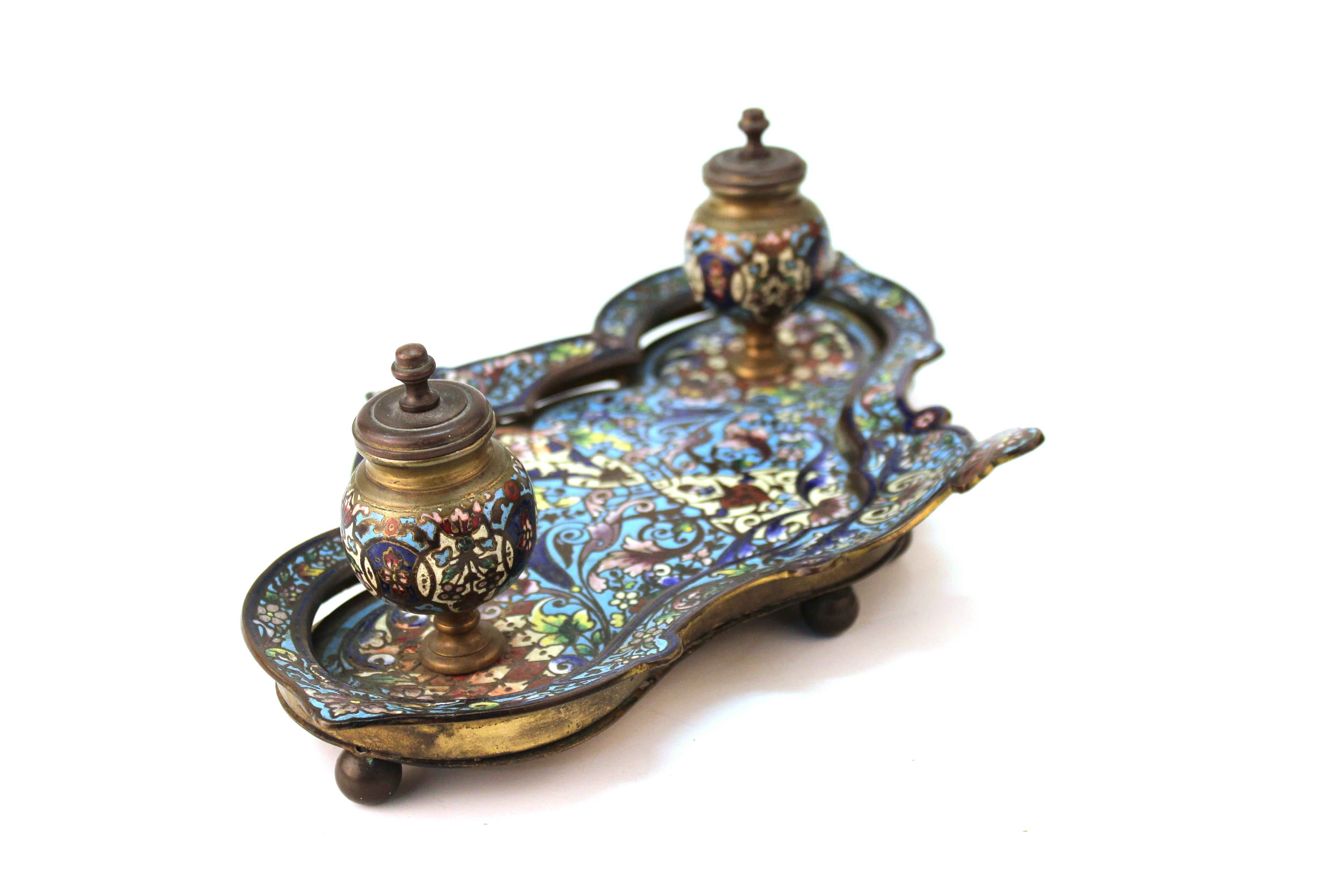 Decorative Arts Original French Bronze And Champleve Enamel Inkwell Encrier By Ferdinand Barbedienne