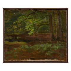 French Mossy Landscape Oil on Canvas