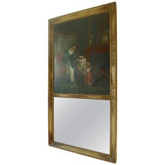 French Mother and Child Trumeau Mirror with Original Glass, Tear in Canvas