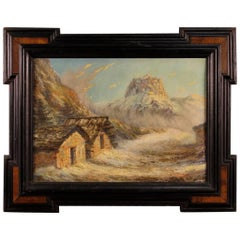 French Mountain Landscape Signed Painting Oil on Board from 20th Century