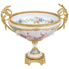 French Mounted Porcelain Centerpiece