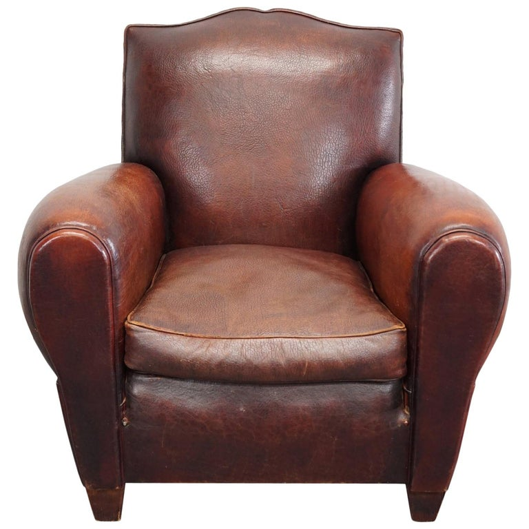 french moustache back brown leather club chair for sale at 1stdibs. Black Bedroom Furniture Sets. Home Design Ideas