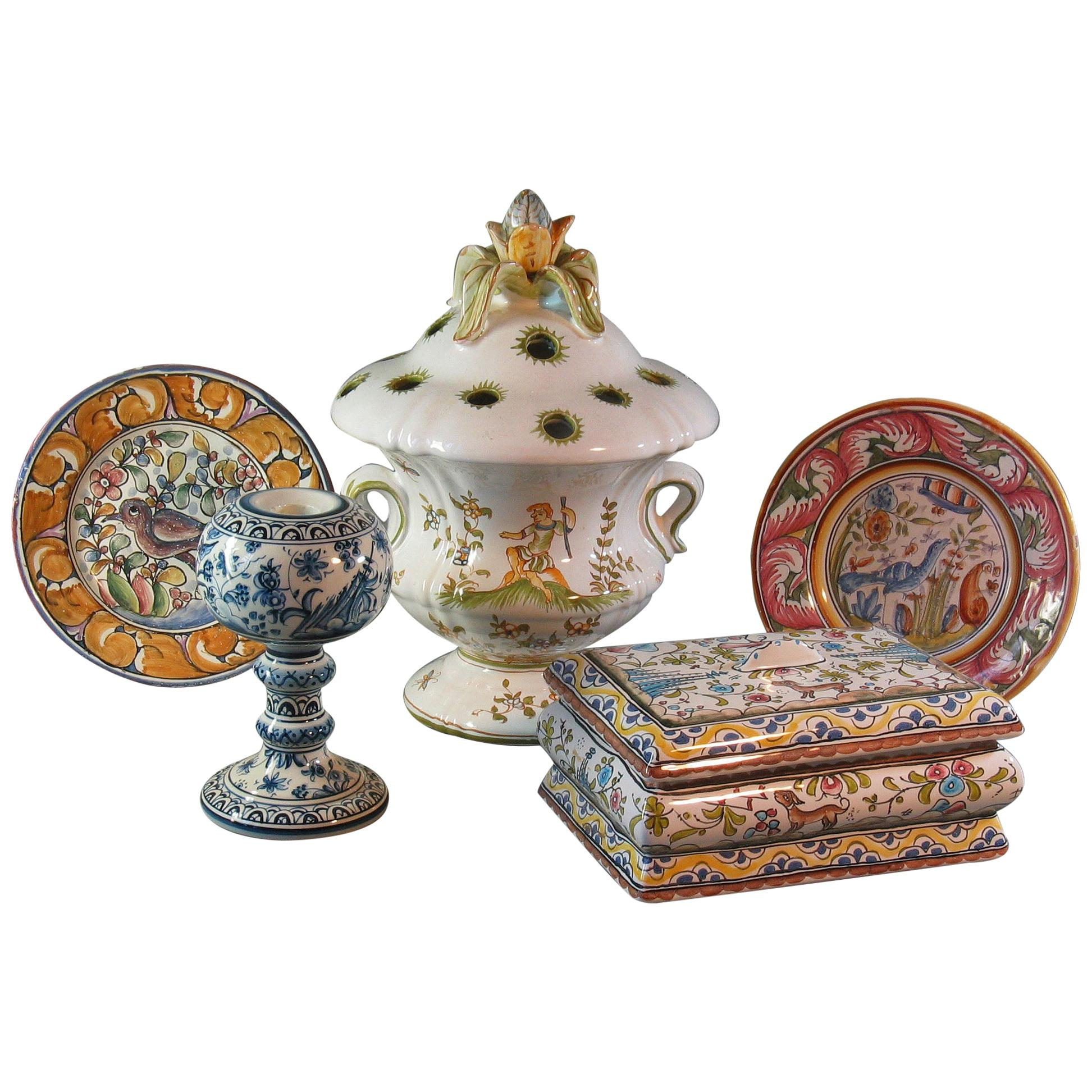 French Moustiers Faience Vase, Portuguese Candlestick, Berardos Box & Two Plates